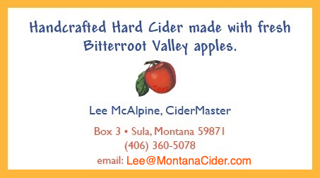 business card: Lee McAlpine, CiderMaster, Box 3, Sula, Montana 59871, (406) 360-5078